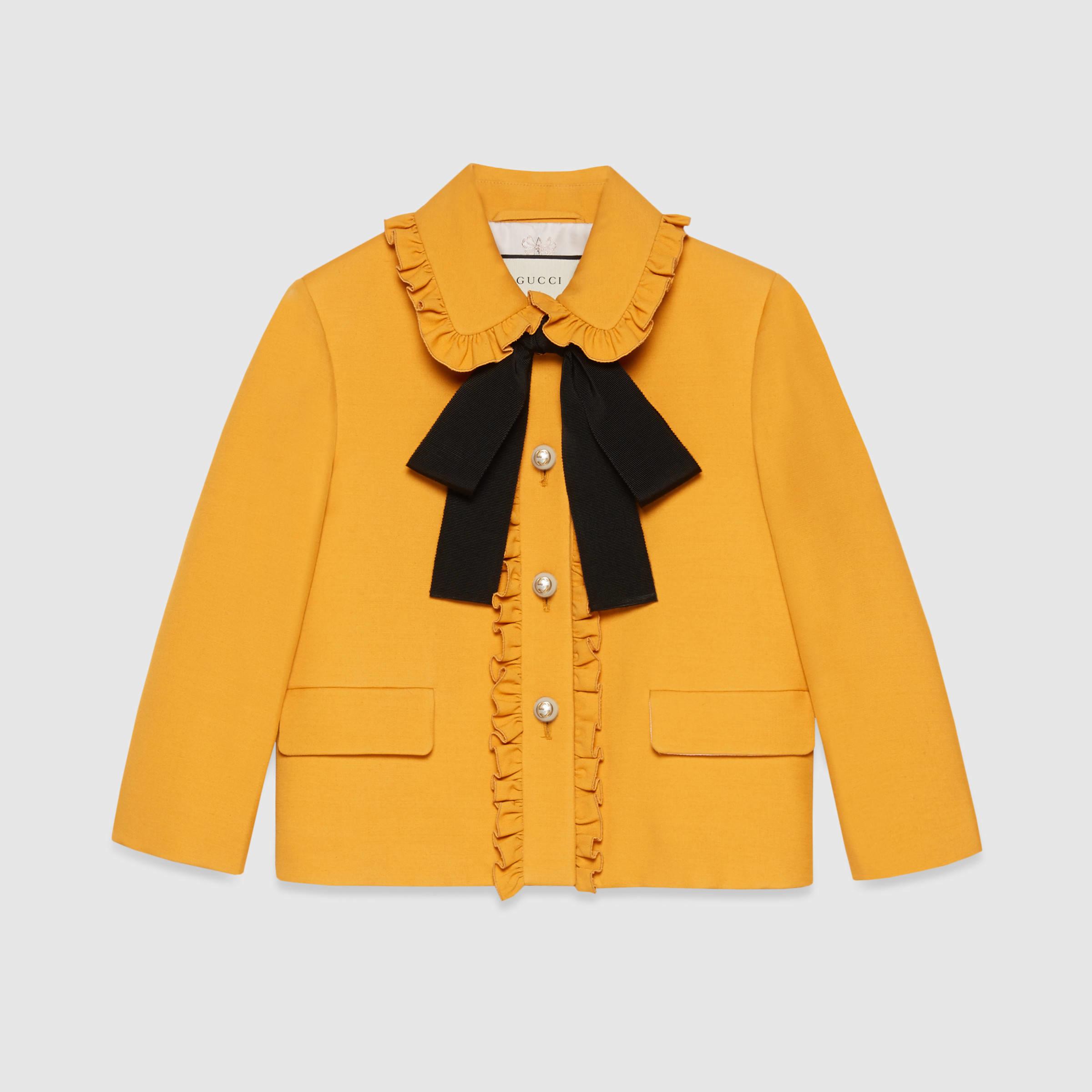 90118e064 Gucci Silk-wool Jacket in Yellow - Lyst
