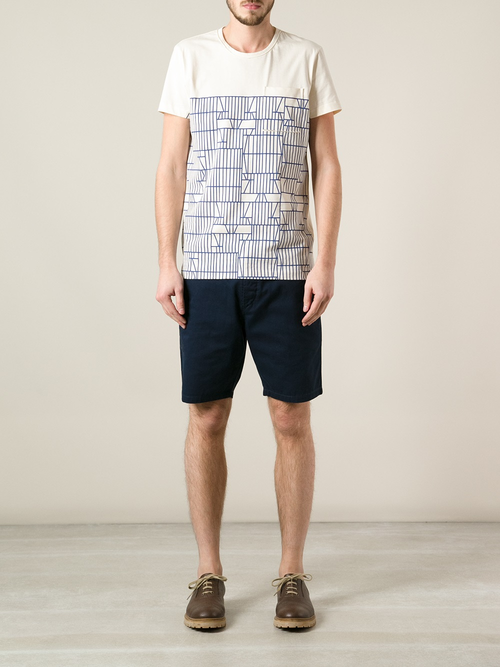 Lyst bottega veneta printed t shirt in blue for men for Bottega veneta t shirt