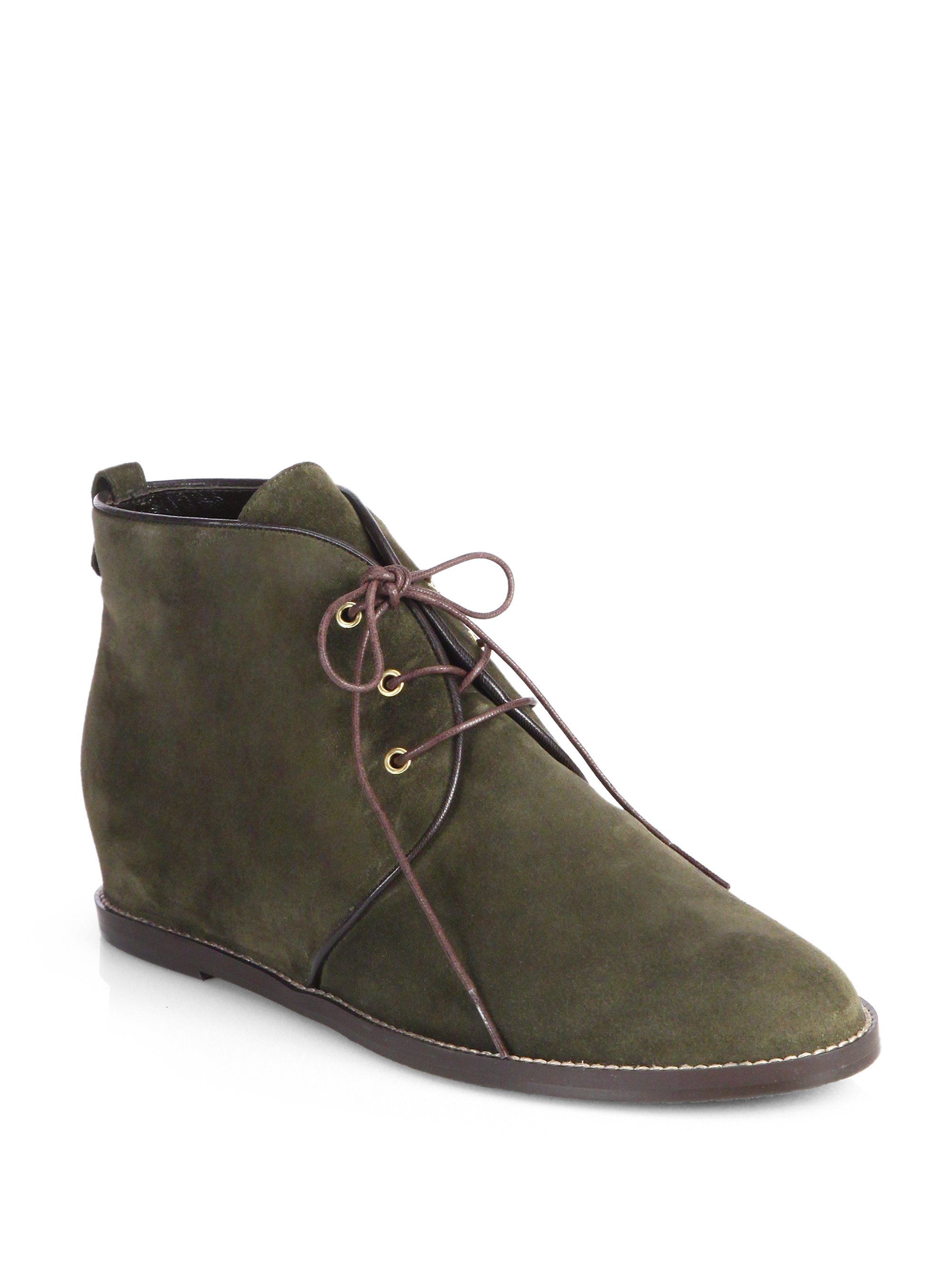 stuart weitzman rove suede wedge ankle boots in green lyst