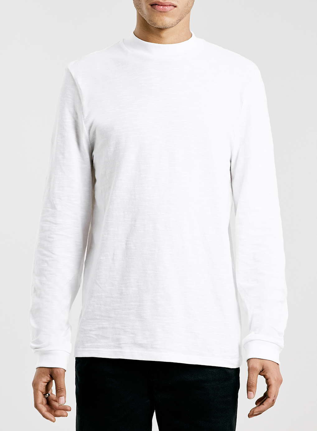 Topman White Slubby Turtle Neck Long Sleeve T-shirt in ...