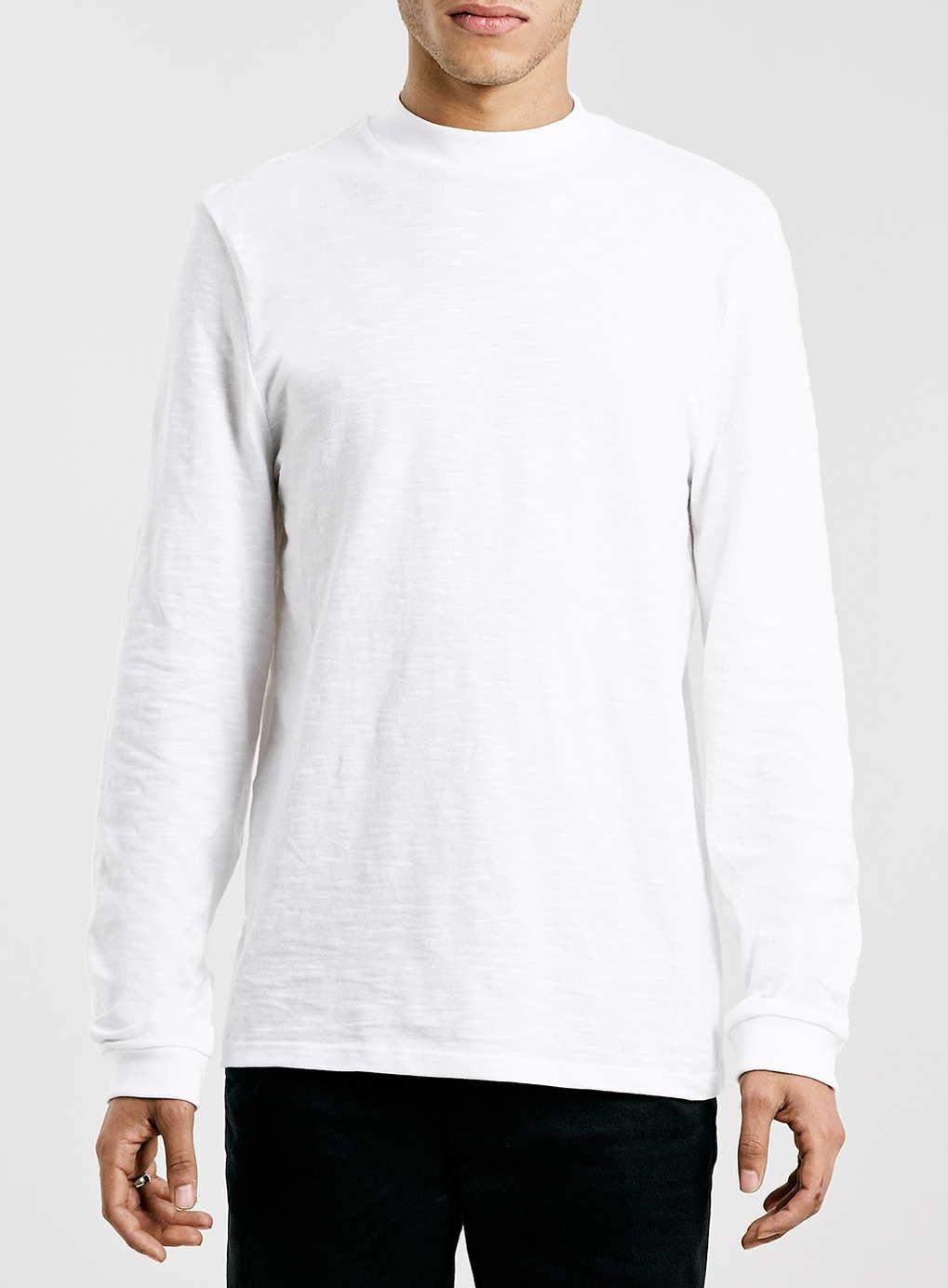 Topman White Slubby Turtle Neck Long Sleeve T Shirt In