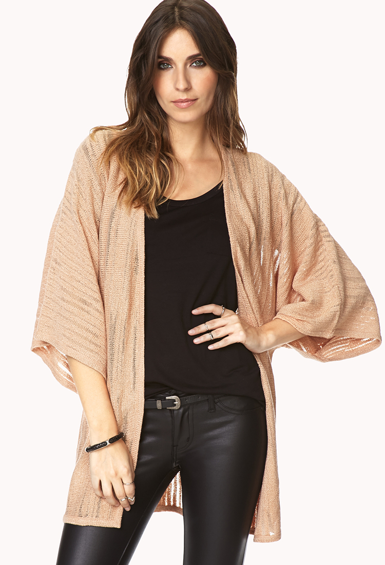 Forever 21 Free Spirit Kimono Cardigan in Natural | Lyst