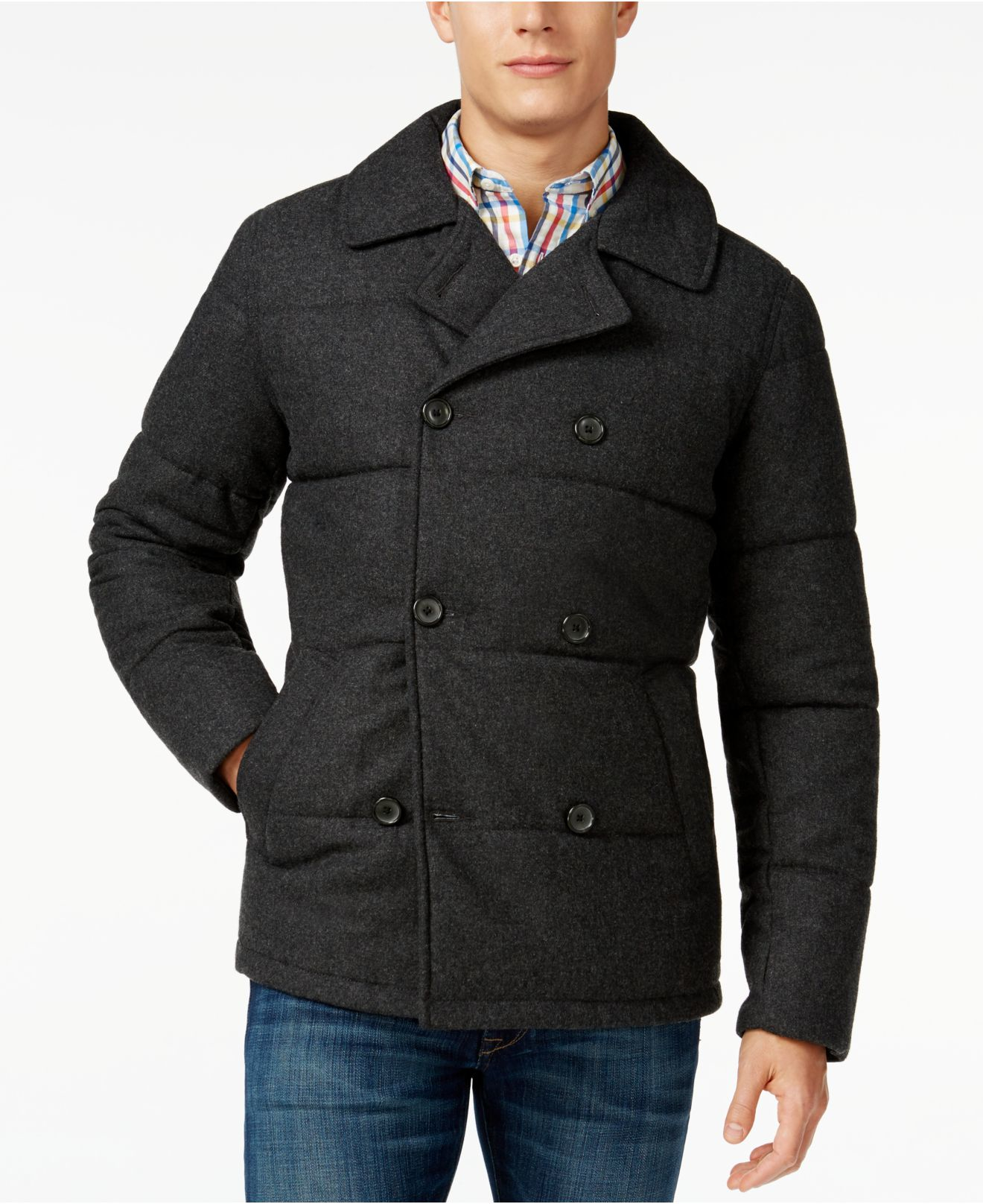 Tommy hilfiger Ash Quilted Peacoat in Gray for Men | Lyst : quilted pea coat - Adamdwight.com