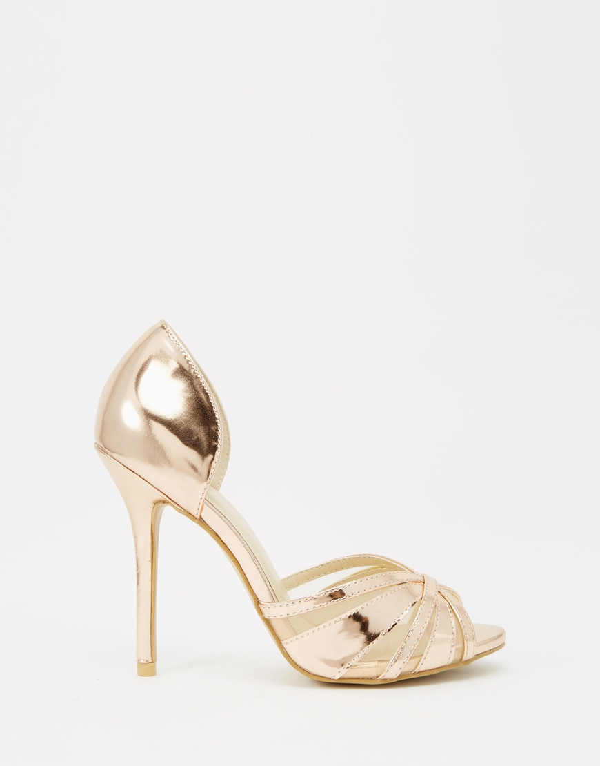 True decadence Rose Gold Metallic Heeled Peep Toe Sandals in ...
