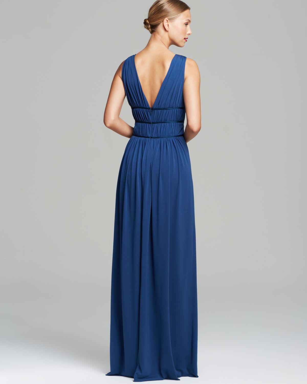 74b89bf9a8f Vera Wang Sleeveless Grecian Double V-Neck Matte Jersey Maxi Dress ...