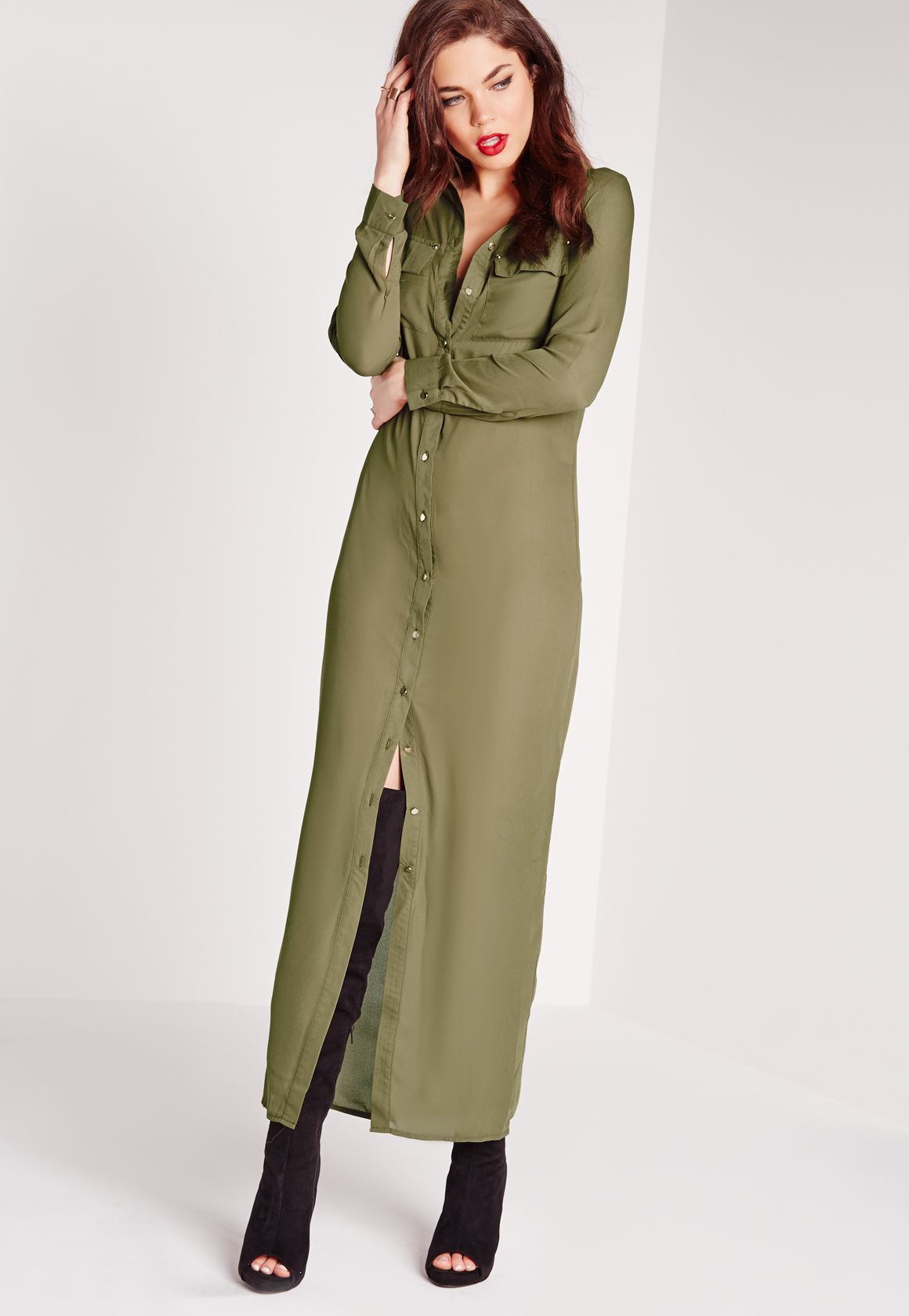 Missguided maxi length long sleeve shirt dress khaki in Women s long sleeve shirt dress