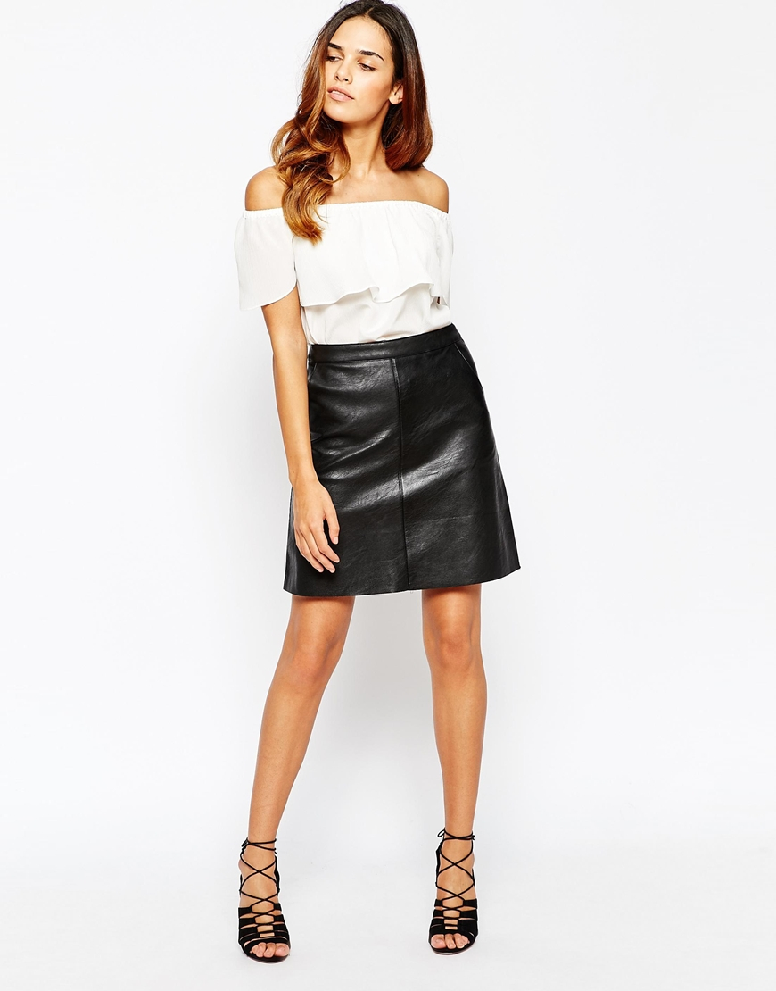 Black A Line Leather Skirt - Dress Ala