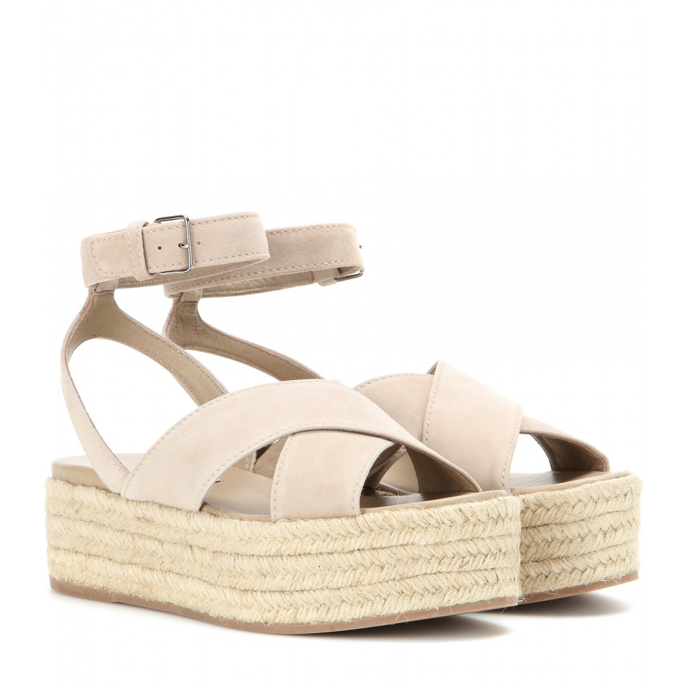 68cd502440b9 Lyst - Miu Miu Mytheresa.Com Exclusive Platform Suede Sandals in Natural