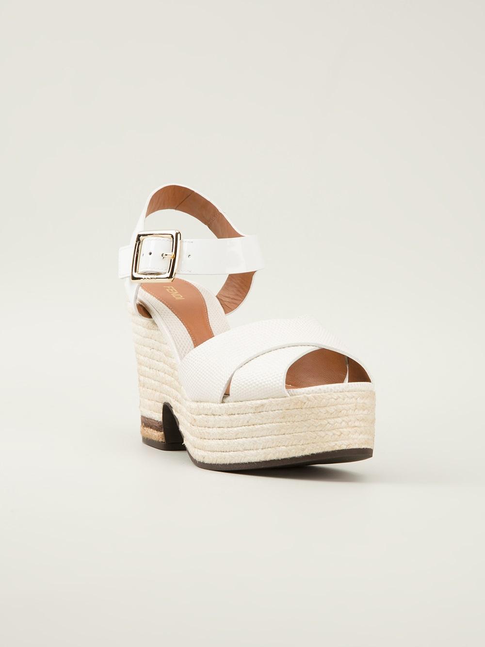 db87b655226 Lyst - Fendi Cecilia Wedge Sandals in White