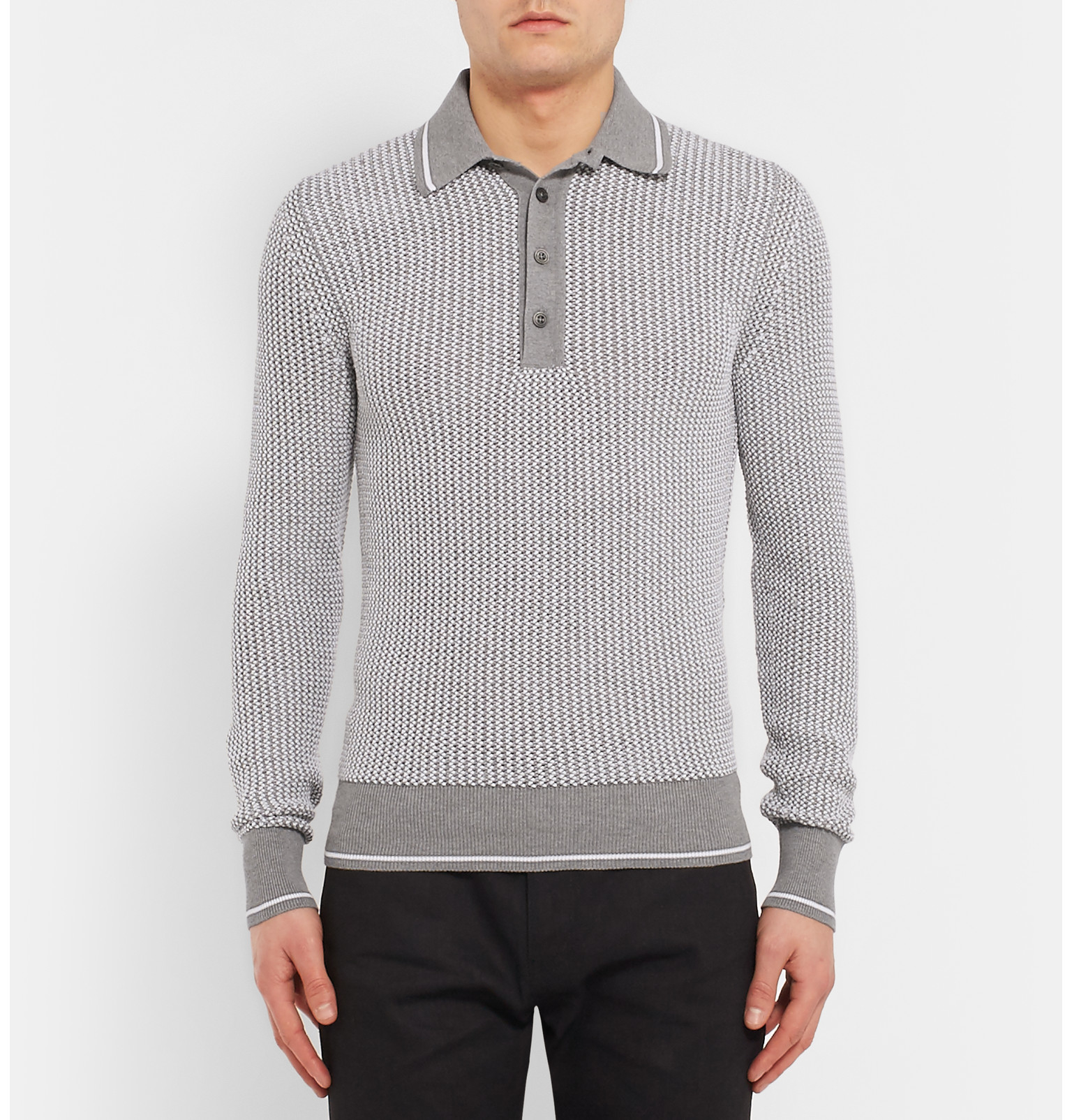 Tom Ford Slim Fit Cotton And Silk Blend Polo Shirt In Gray