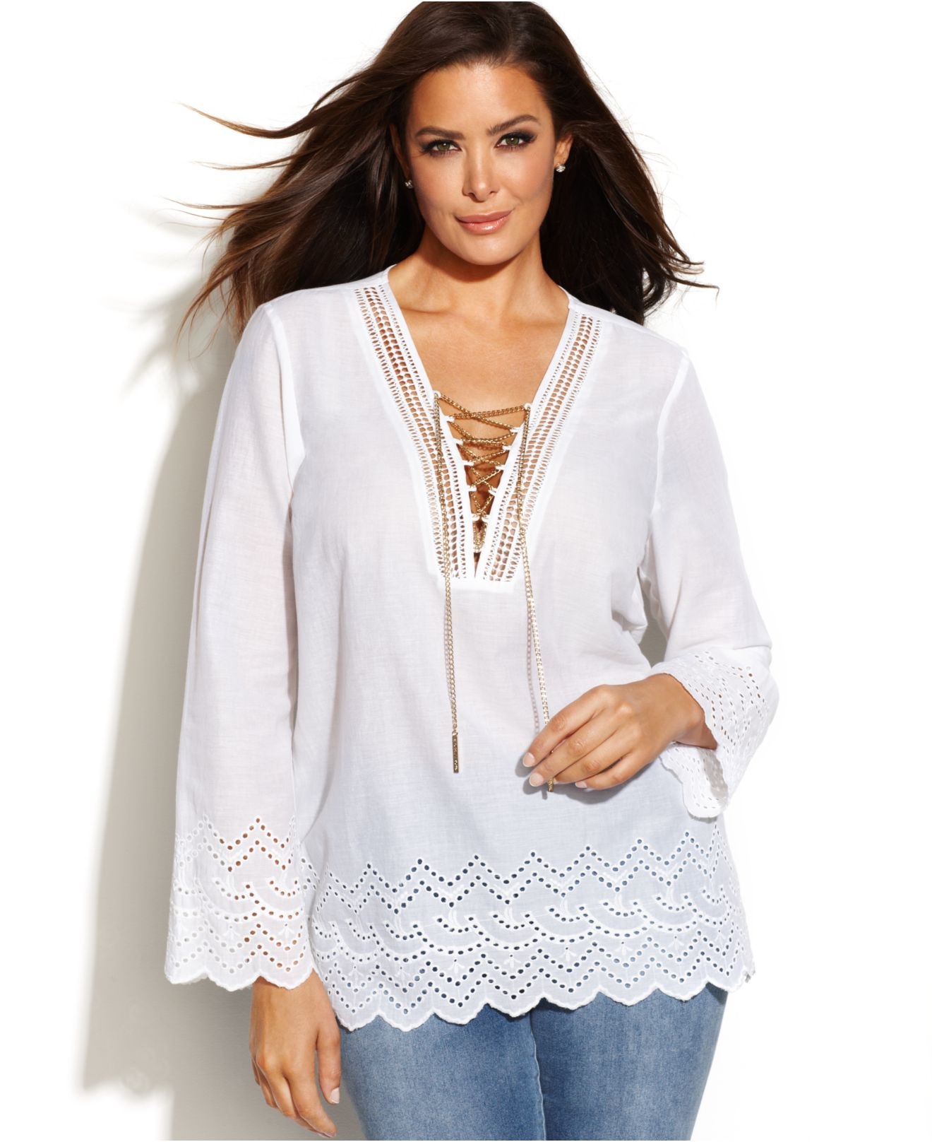 4200736841d Lyst - Michael Kors Michael Plus Size Lace-Up Eyelet Blouse in White