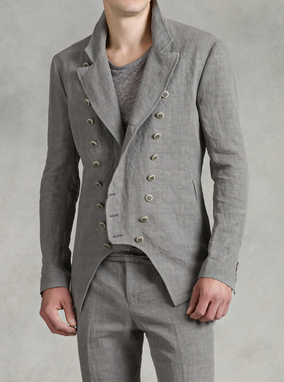John Varvatos Multi Button Front Cutaway Jacket In Gray