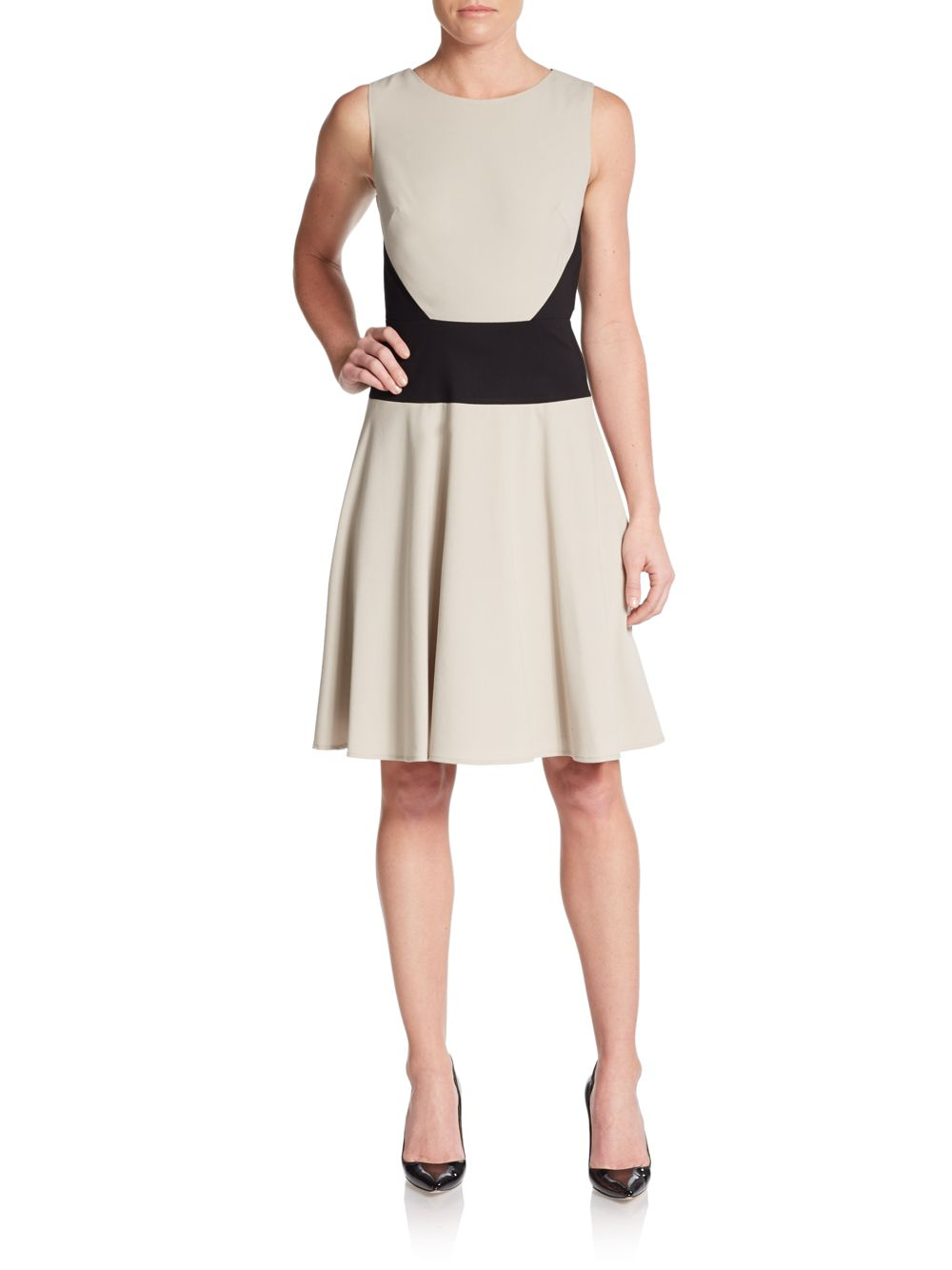 Calvin klein Paneled Fit-and-flare Dress in Natural | Lyst