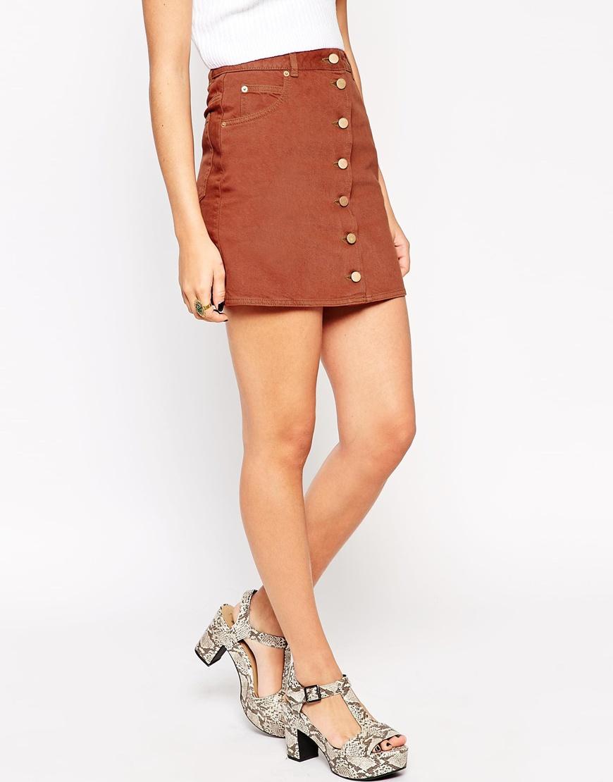 Asos Denim Dolly Button Through Skirt In Rust in Brown | Lyst