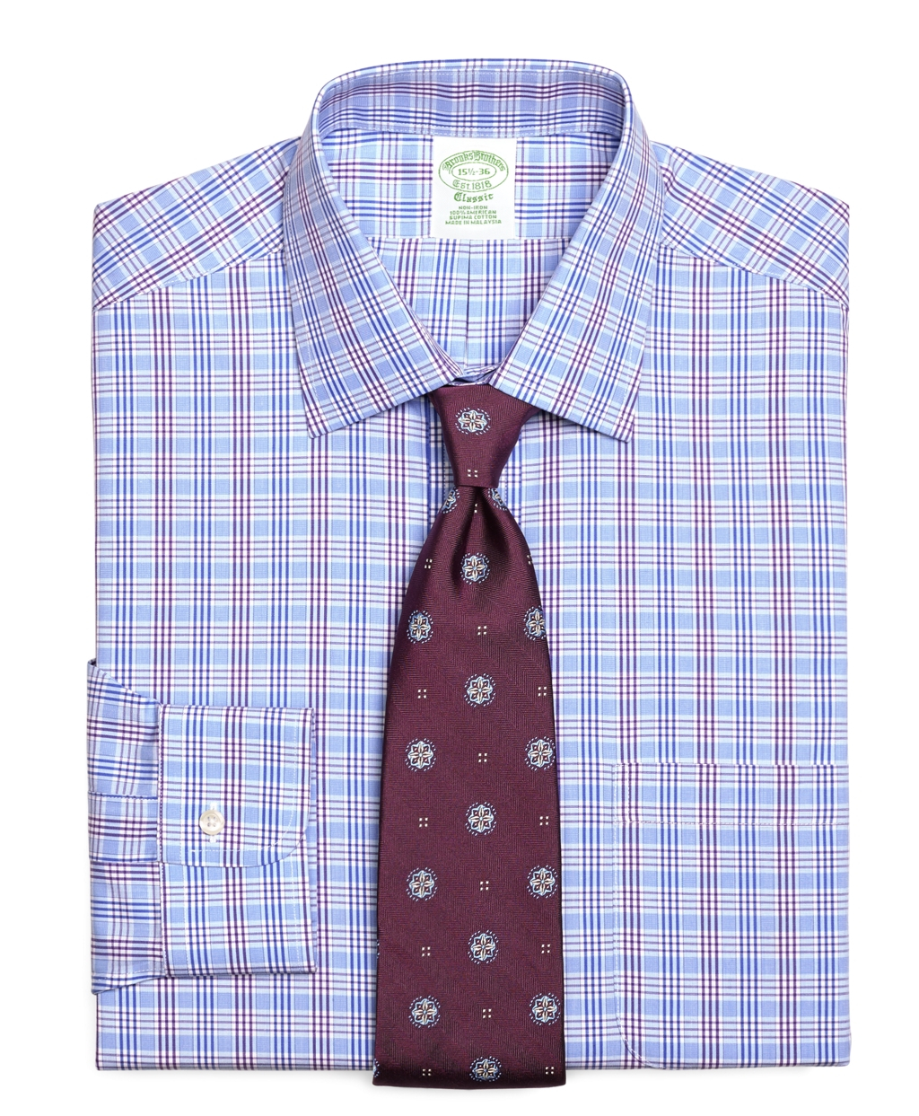 Brooks brothers non iron extra slim fit triple check dress for Extra trim fit dress shirt