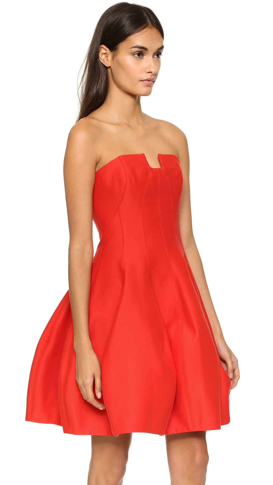 Halston Strapless Structured Dress in Red | Lyst