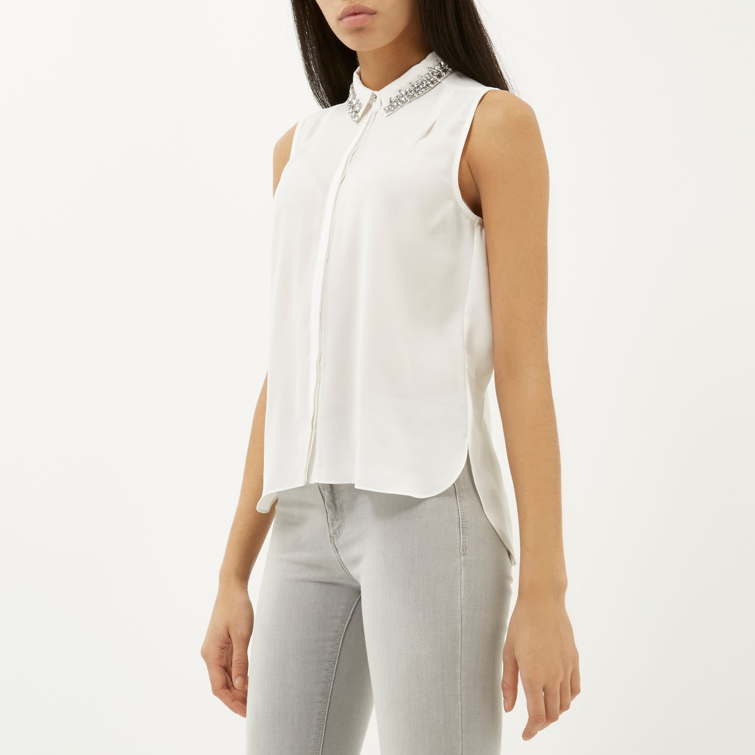 river island white sleeveless embellished collar shirt in
