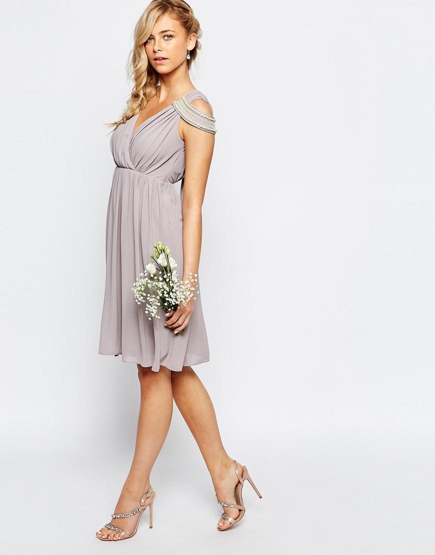 Lyst tfnc london wedding cold shoulder wrap front midi for Cold shoulder dresses for wedding