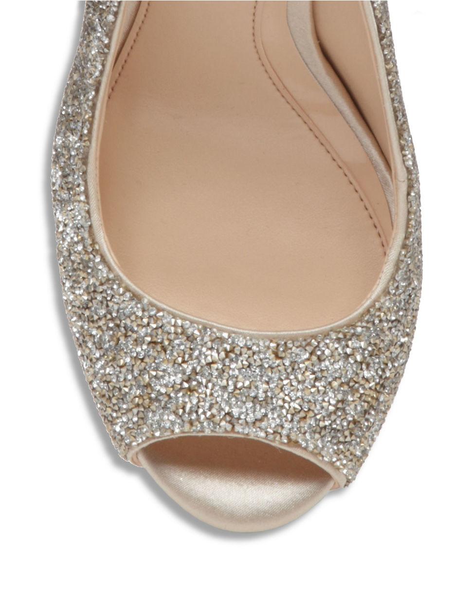 Gold Sparkle Peep Toe Heels