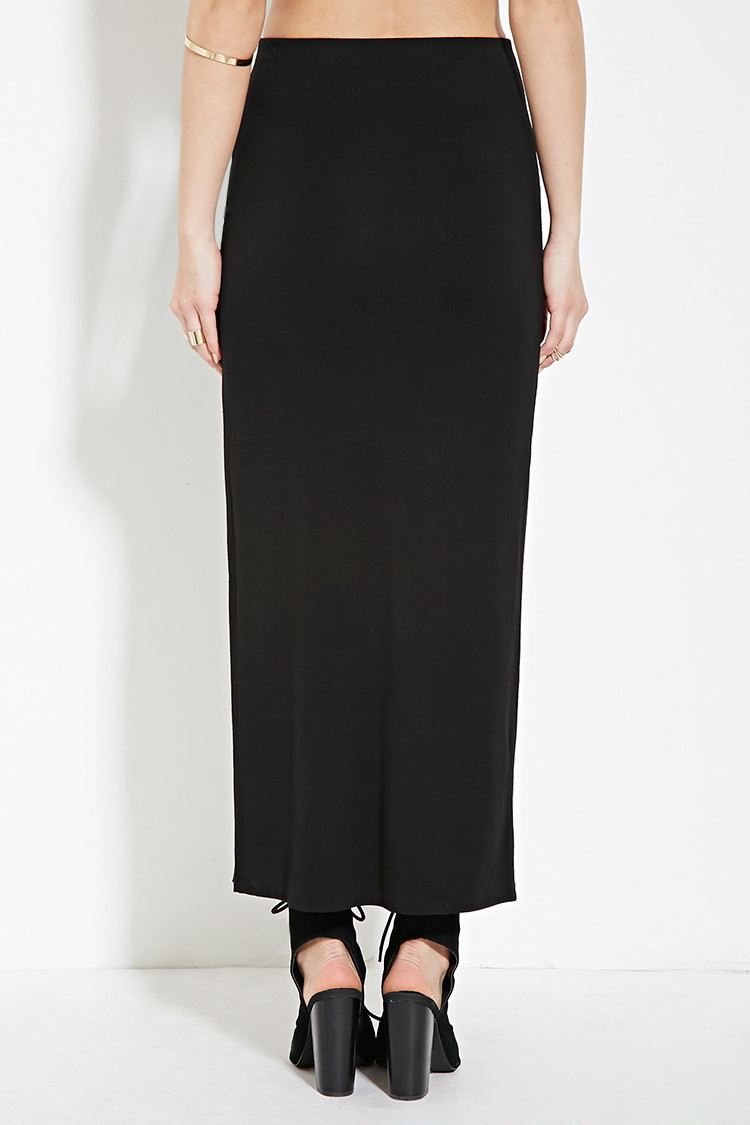 forever 21 high slit midi skirt in black lyst