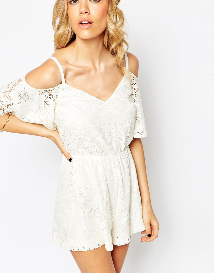 Lyst - ASOS Cold Shoulder Playsuit In Pretty Lace in White