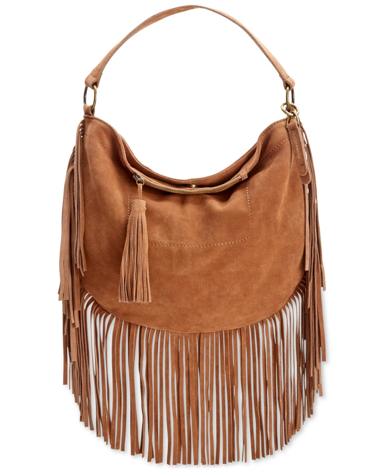 0d22df7a1f74 Lyst - Lucky Brand Rickey Suede Fringe Crossbody Hobo in Brown