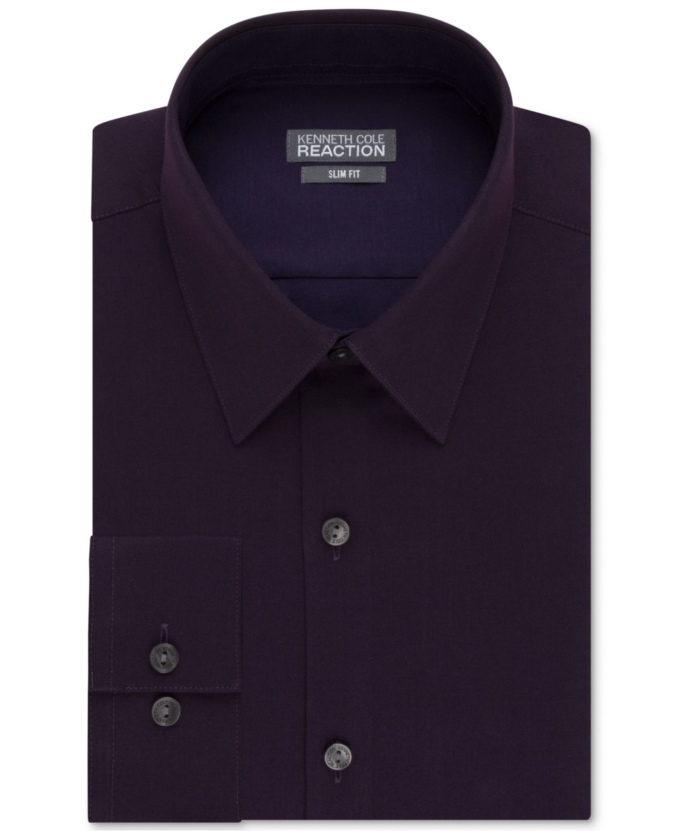Kenneth cole reaction purple extra slim fit solid dress for Extra trim fit dress shirt