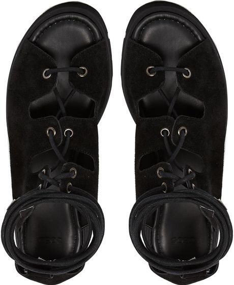 Black Lace up Sandals Asos up Flat Sandals in Black