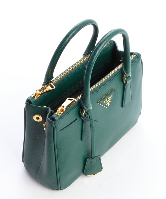 Prada Emerald Saffiano Leather Top Handle Bag in Green | Lyst
