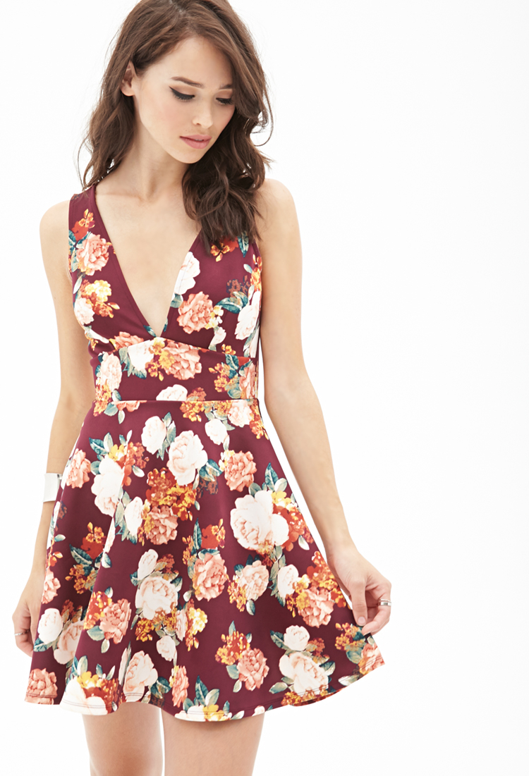 5de0cb9fd93 Forever 21 Floral A-line Dress in Red - Lyst