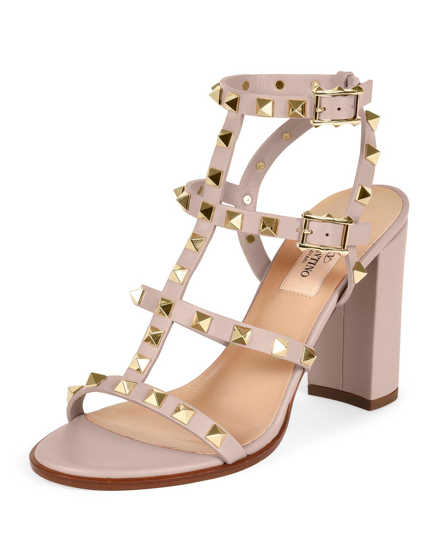 Lyst Valentino Rockstud Leather Block Heel Sandal In Natural