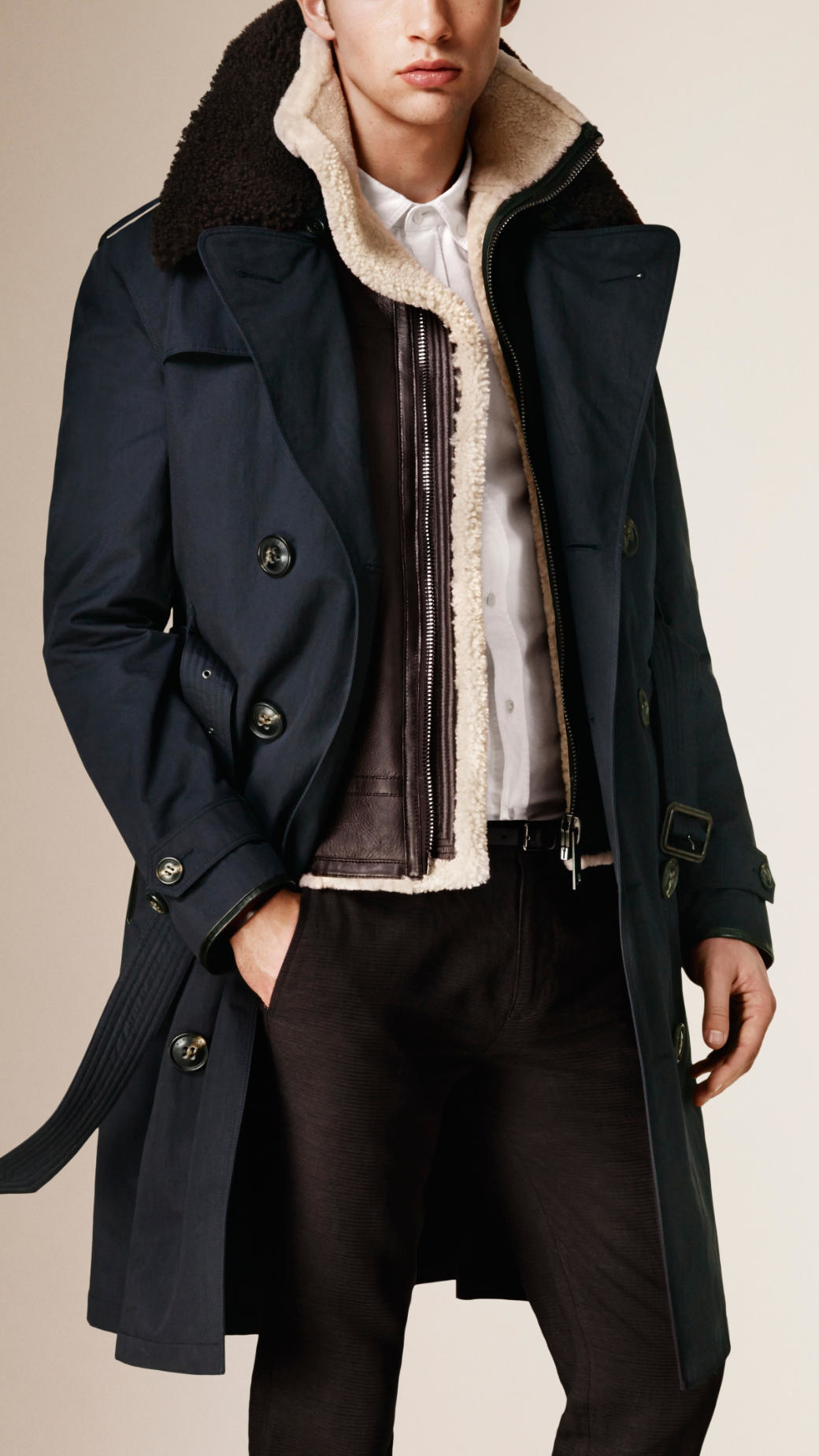 Burberry Cotton Blend Trench Coat With Shearling Warmer in Blue ...