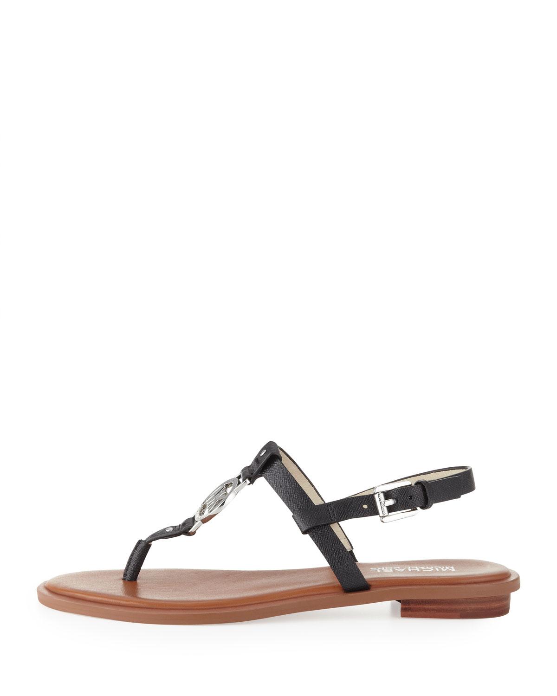 cbee2dd62131e Lyst - MICHAEL Michael Kors Sondra Logo Sandals in Black