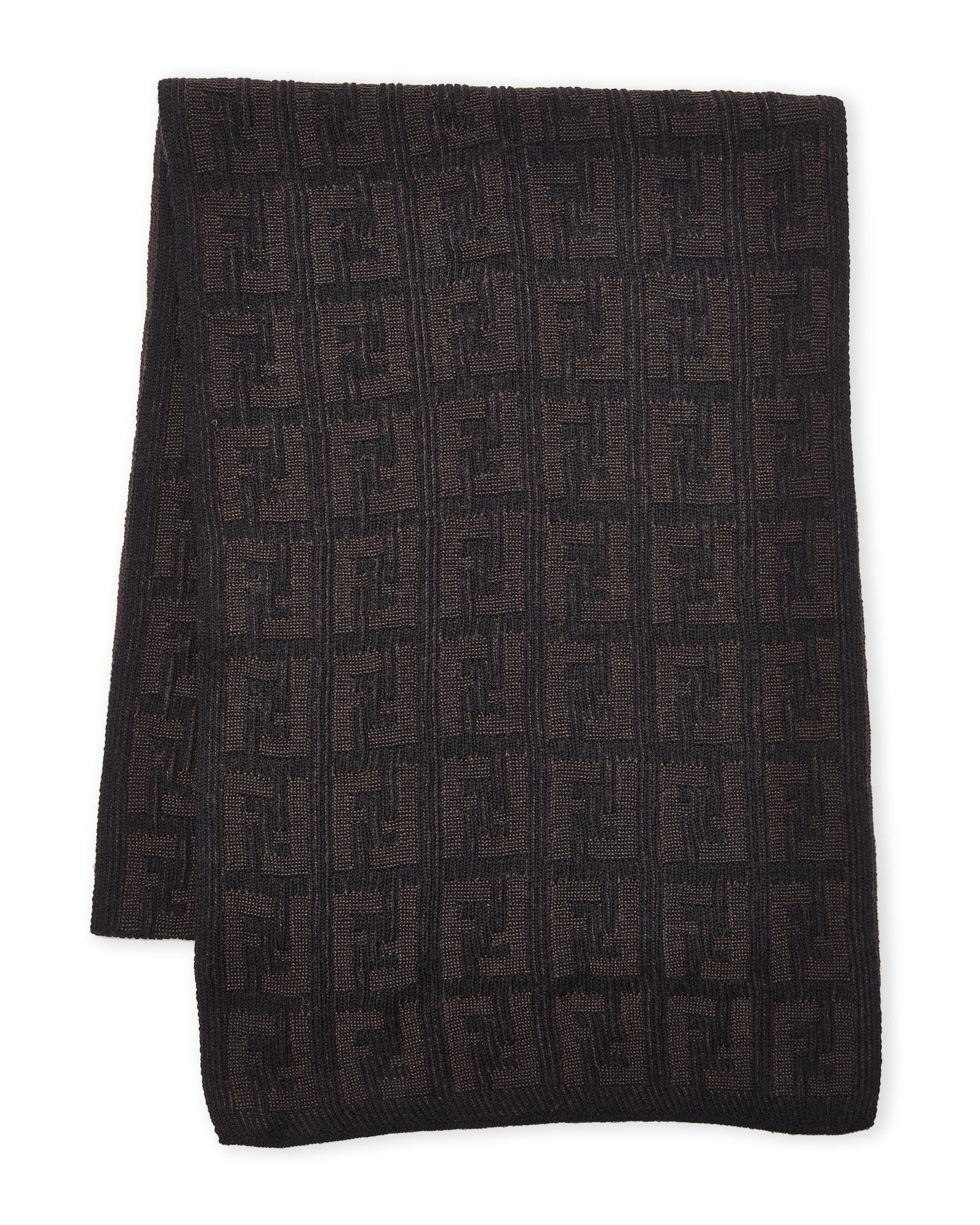 ff6533a3cdf ... where to buy lyst fendi logo wool scarf in brown for men 9482c 314af