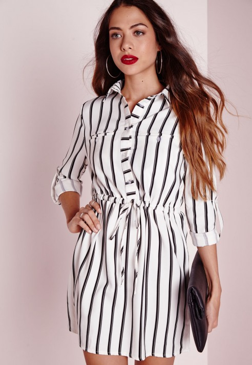 Lyst - Missguided Drawstring Waist Shirt Dress White Stripe in Black 5ee05521b