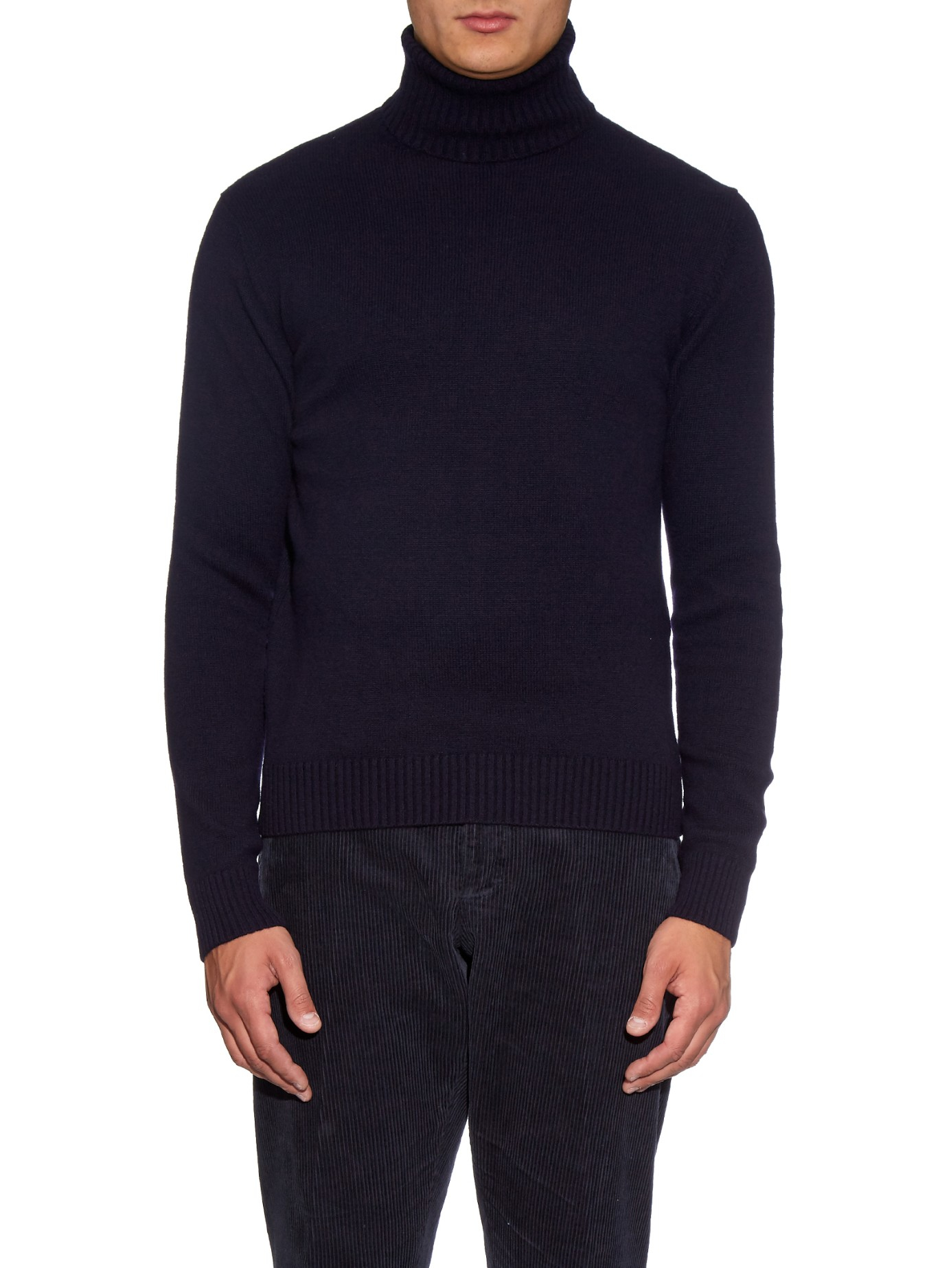 Ami Roll-neck Wool-knit Sweater in Blue for Men Lyst