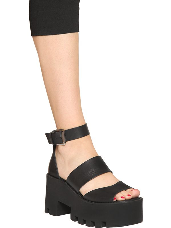 3a61a7f86736 Lyst - Windsor Smith 80mm Puffy Leather Platform Sandals in Black