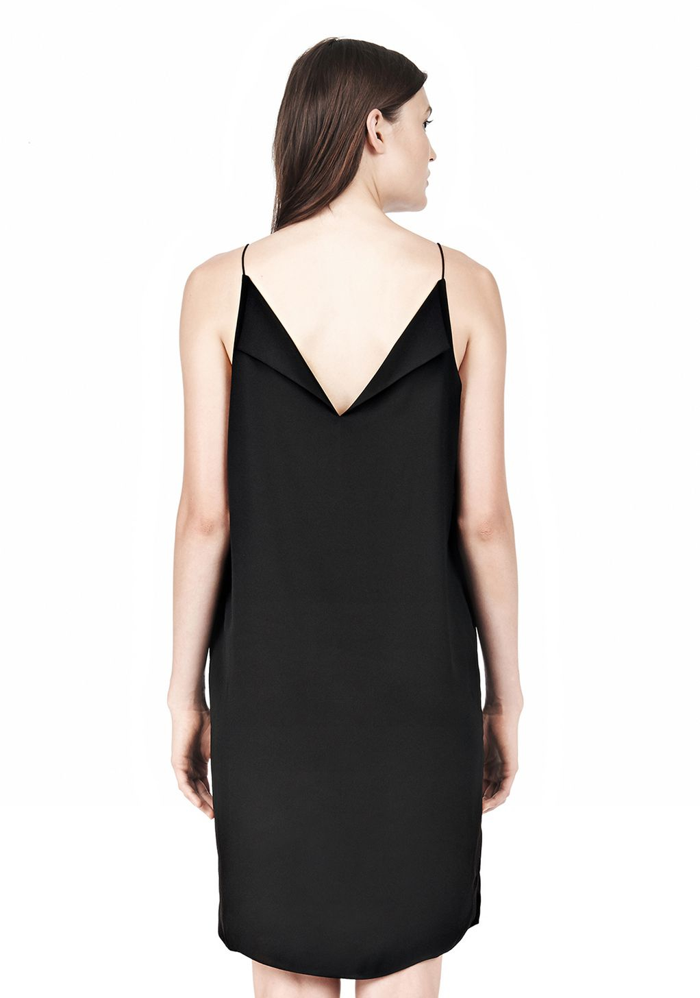 6956e840ffd5e Alexander Wang Silk Square Neck Slip With Satin Back Lapels in Black ...