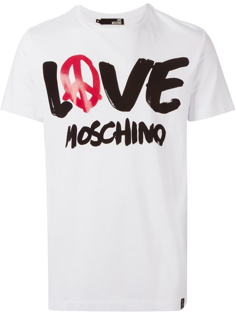 love moschino logo print t shirt in white for men lyst. Black Bedroom Furniture Sets. Home Design Ideas