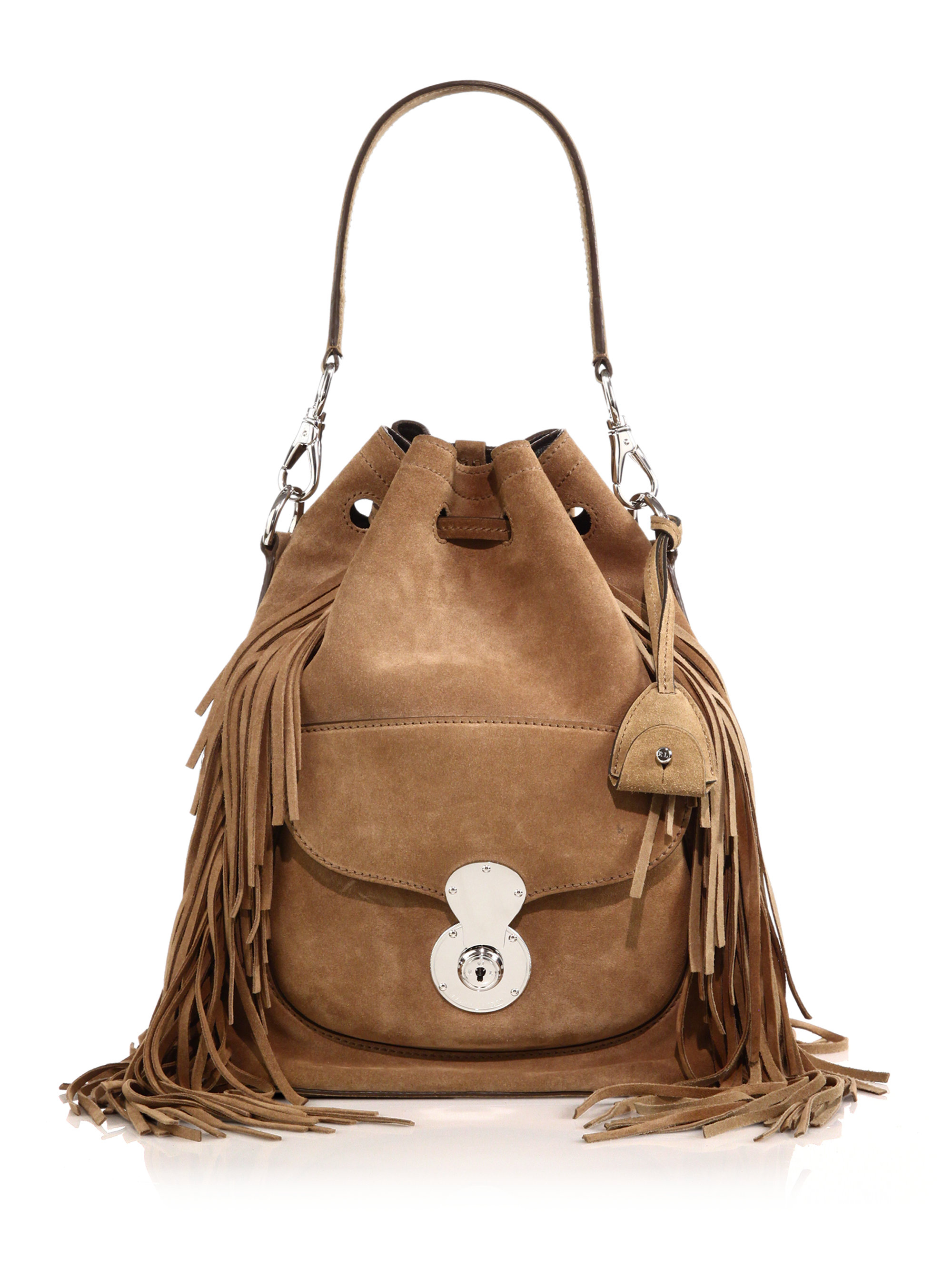 ed30dc78afe7 Lyst - Ralph Lauren Collection Ricky Fringed Suede Bucket Bag in Brown