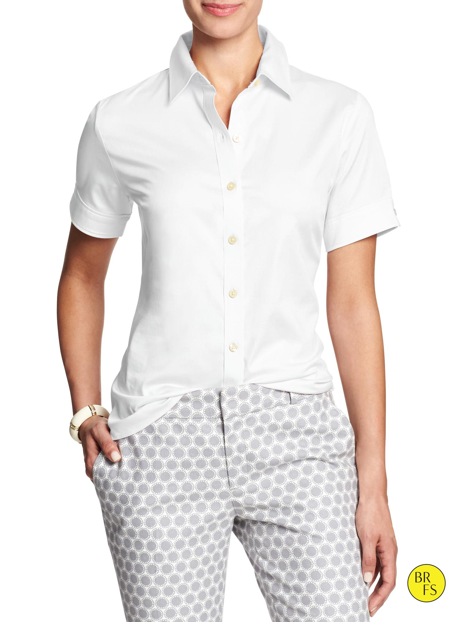 Banana republic factory non iron fitted shirt in white lyst for What is a non iron shirt