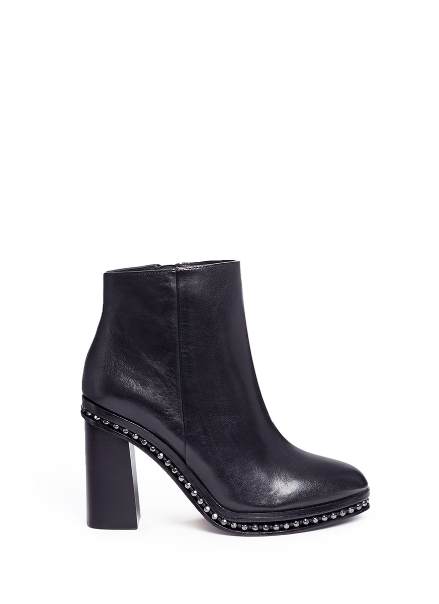 Lyst Coach Justina Bead Chain Trim Leather Boots In Black