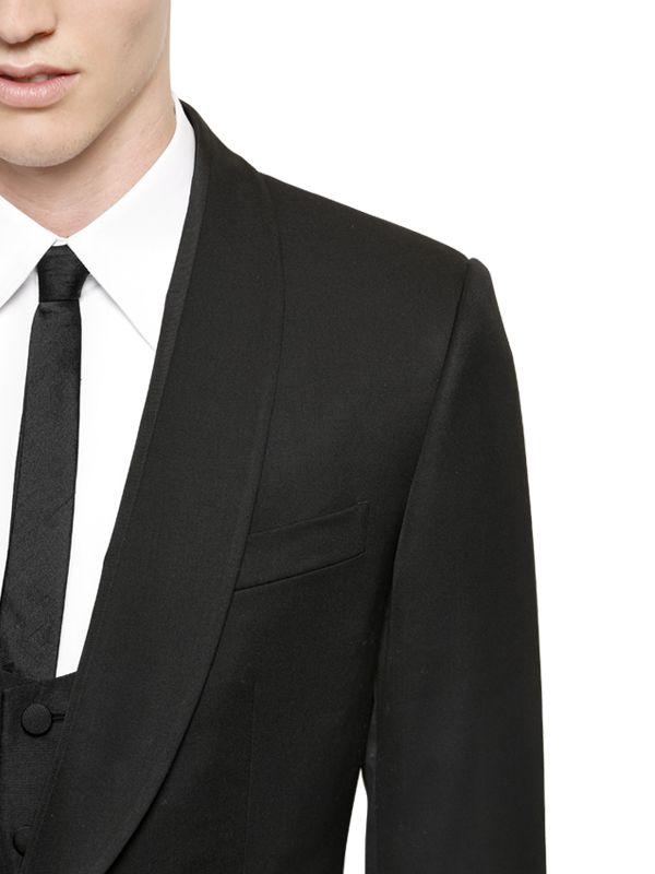 bf124ae47f Lyst - Dolce   Gabbana Wool Gabardine 3 Piece Suit in Black for Men