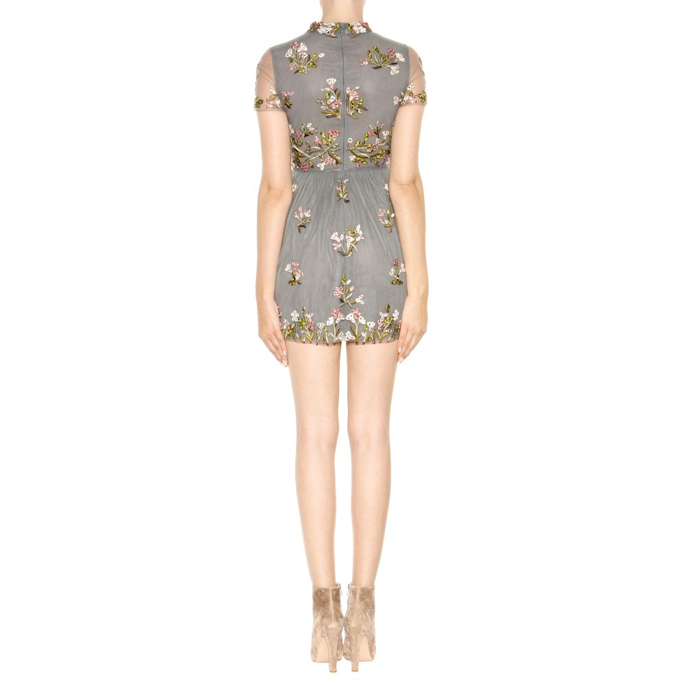 Lyst - Valentino Embellished Tulle Mini Dress in Gray