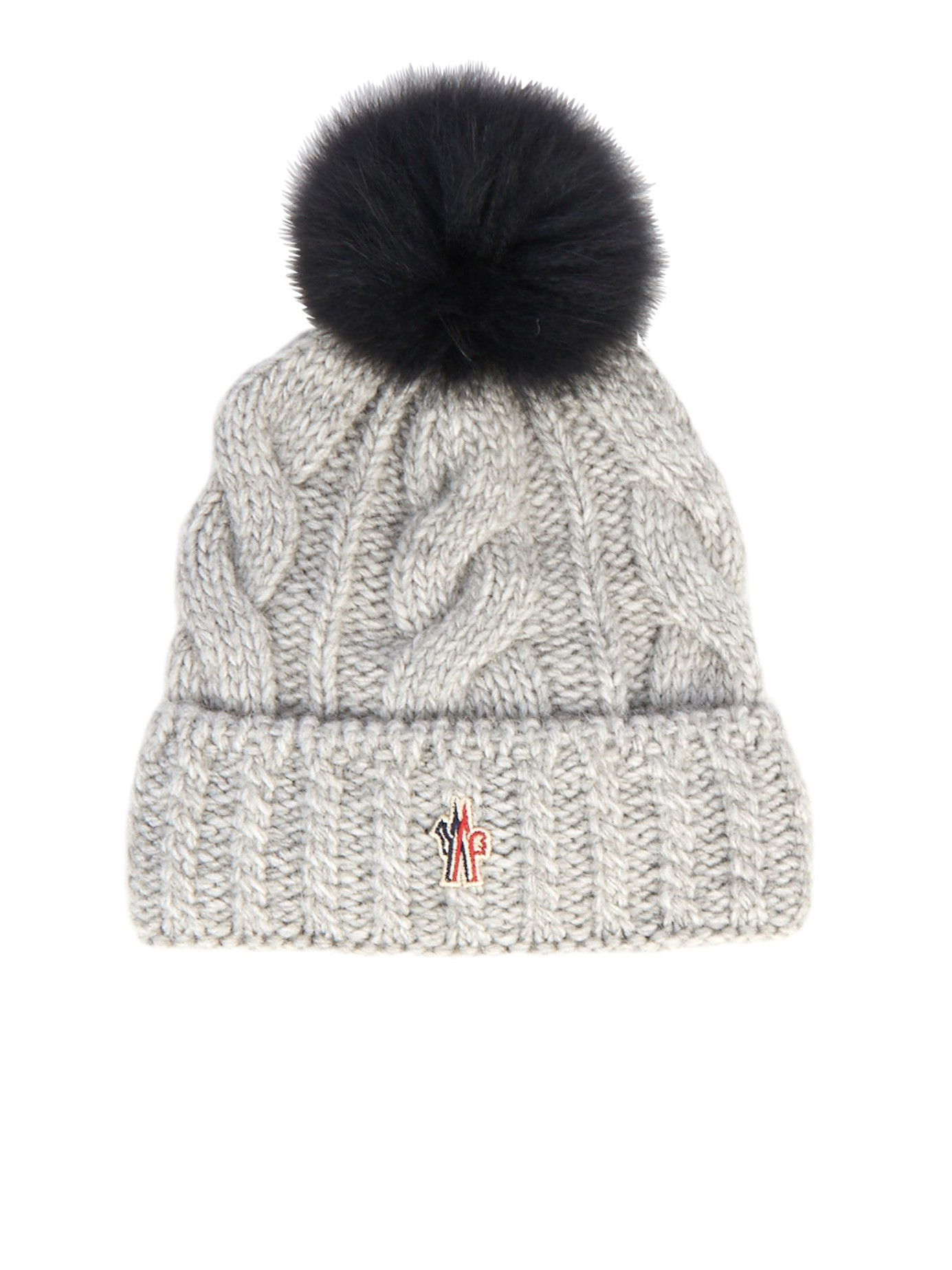 719232495cf Lyst - Moncler Grenoble Cable Knit Pompom Beanie in Gray