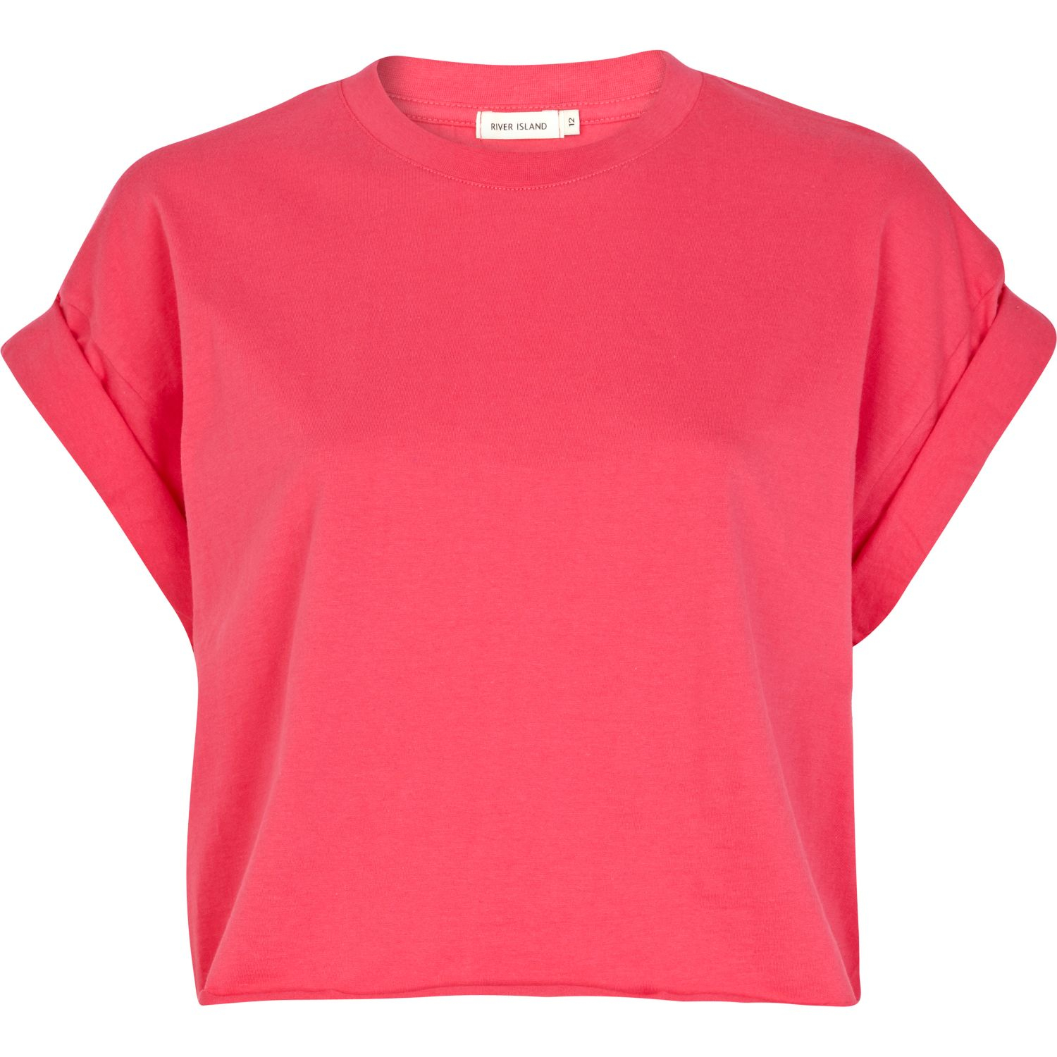 river island pink short sleeve boxy cropped t shirt in. Black Bedroom Furniture Sets. Home Design Ideas