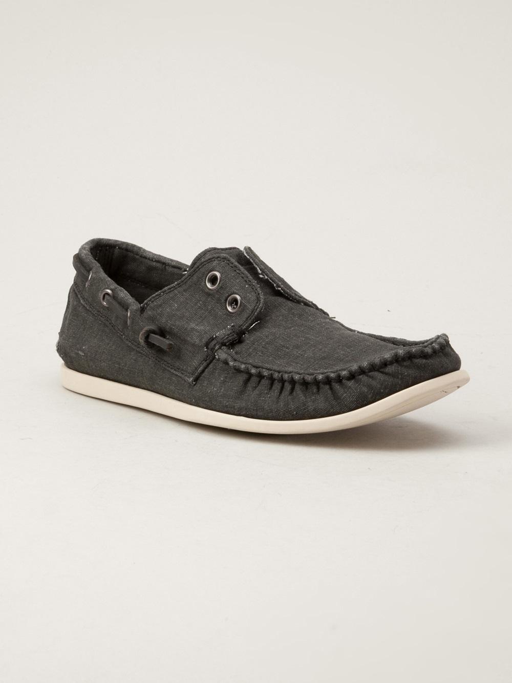 John Varvatos Schooner Boat Shoe in Gray for Men (grey