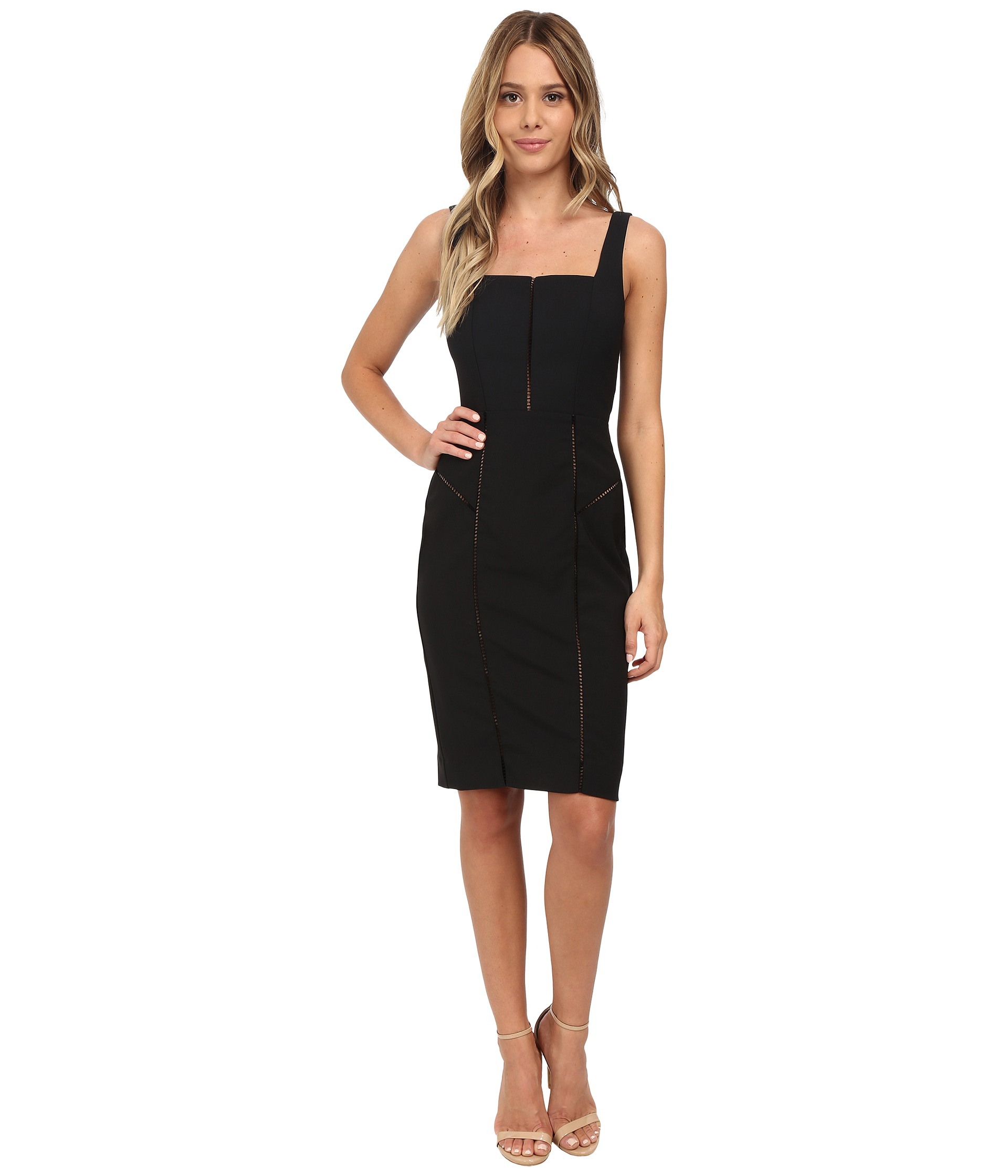 Nicole miller Alaiya Square Neck Cocktail Dress in Black | Lyst