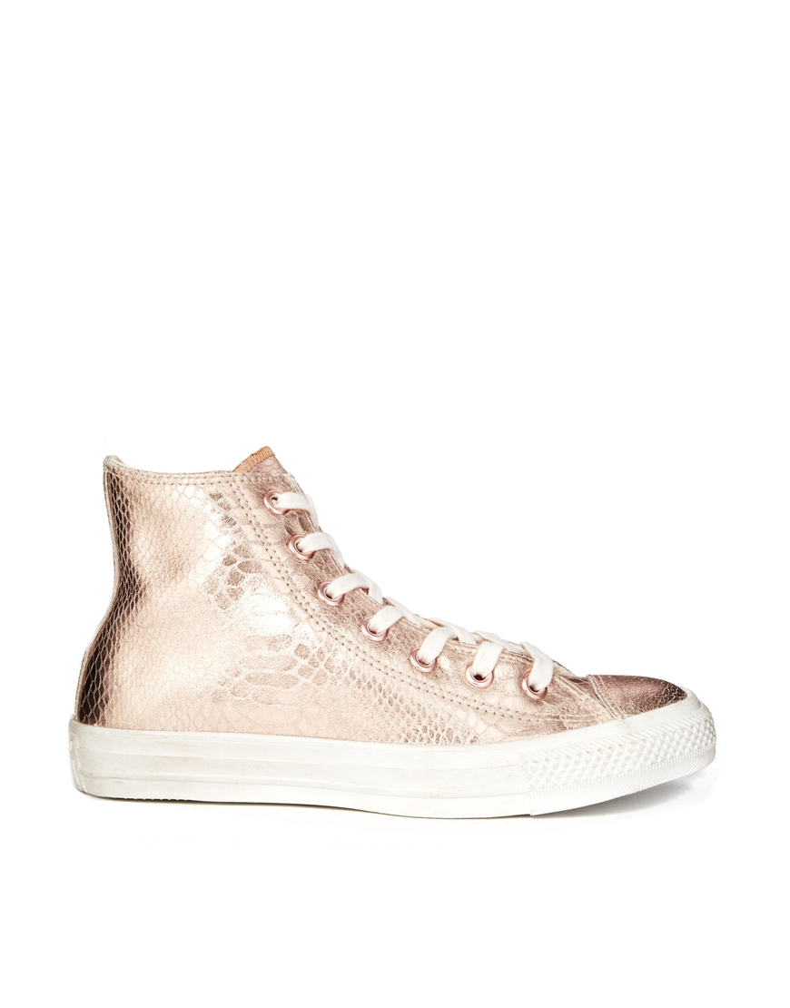 converse chuck taylor all star rose gold leather hi top trainers in pink rosegoldwhite lyst. Black Bedroom Furniture Sets. Home Design Ideas