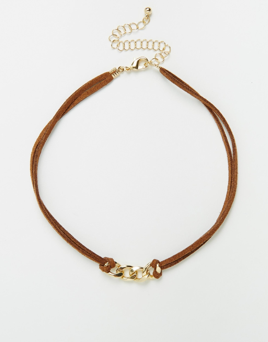 asos chain link suede choker necklace in brown lyst